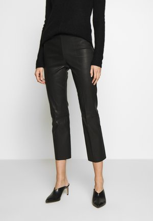 FLORENTINA - Leather trousers - black