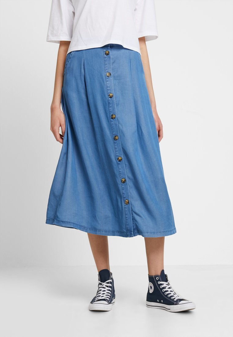 b.young - BYHARIMO LONG SKIRT - A-Linien-Rock - chambray blue