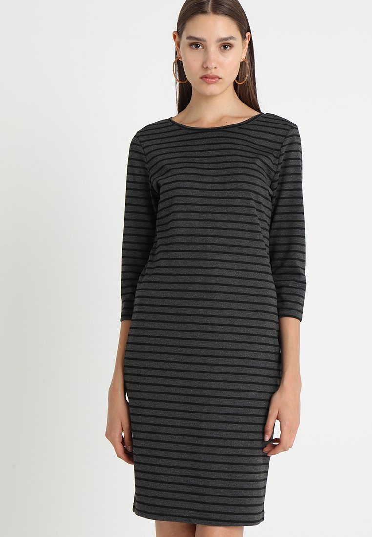 b.young - RIZETTA O NECK DRESS - Etuikleid - dark grey melange combi