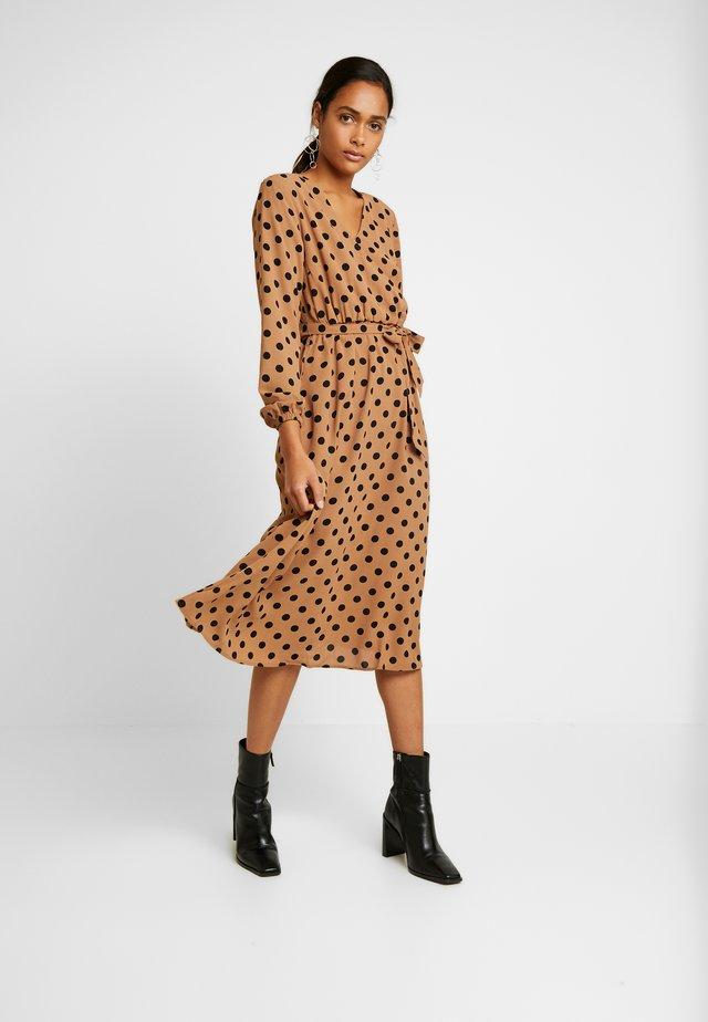 BXHINNA DOT WRAP DRESS - Maxi dress - almond combi