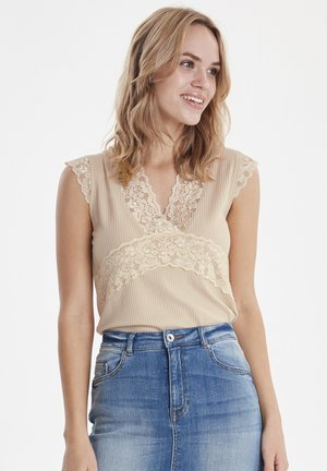 BYTOELLA LACE TOP - JERSEY - Blouse - cement
