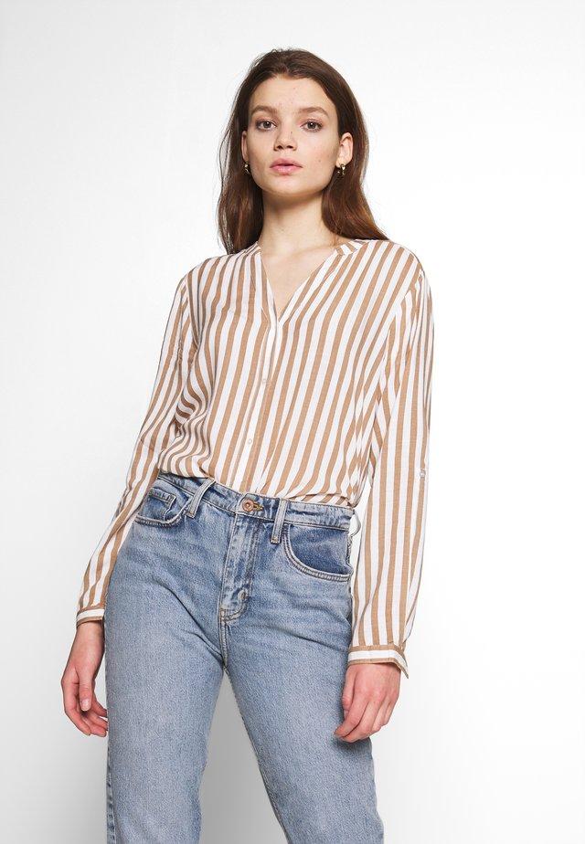 BYFABIANNE STRIPE - Button-down blouse - almond combi
