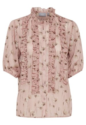 BXINK LIGHT WOVEN - Button-down blouse - dark rose pearl combi