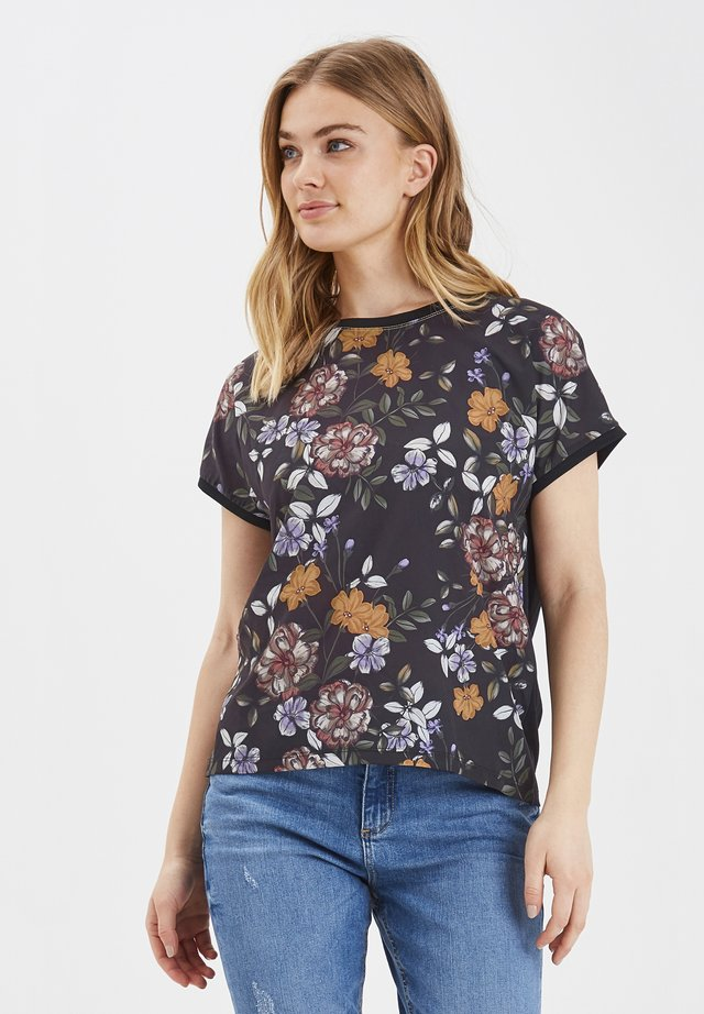 BYPANYA - T-shirt basic - black flower combi 1