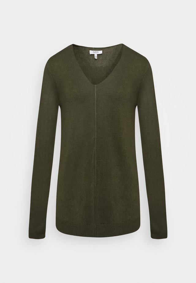 BYMALEA V NECK JUMPER - Jumper - olive night