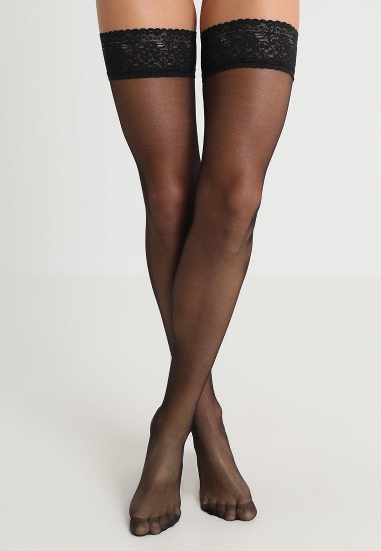 BlueBella - PLAIN LEG TOPPED HOLD UPS - Ylipolvensukat - black