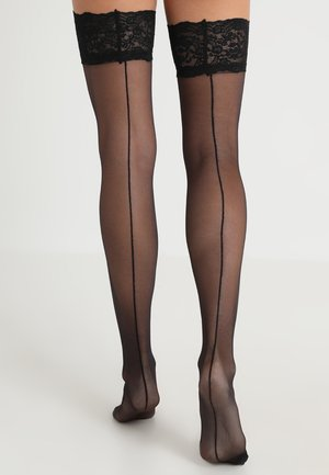 BACK SEAM LEG TOPPED STOCKINGS - Ylipolvensukat - black