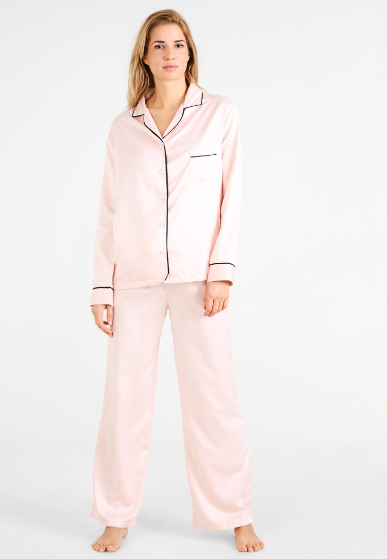 Bluebella Abigail Shirt And Trouser Set - Pyjamas Pale Pink/black