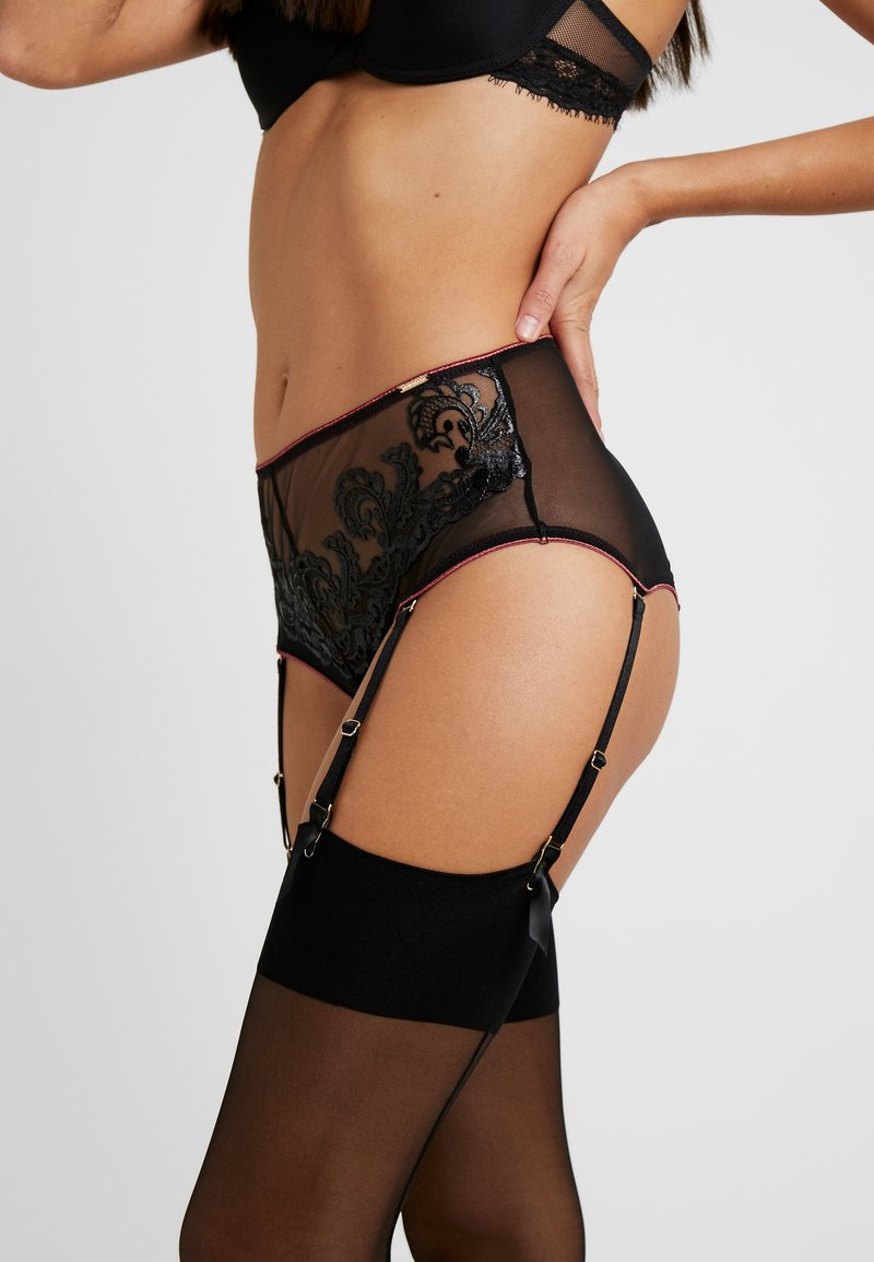 BlueBella - MARA HIGH-WAIST SUSPENDER BRIEF - Slip - black/cordovan