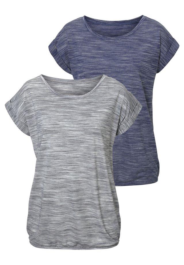 2 STÜCK - Print T-shirt - blau-meliert/grau-meliert