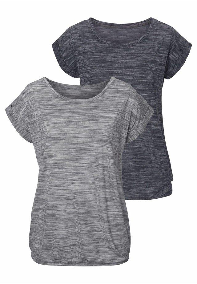 2 STÜCK - Print T-shirt - schwarz-meliert/grau-meliert