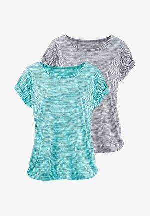 2 STÜCK - Print T-shirt - mint-meliert+grau-meliert