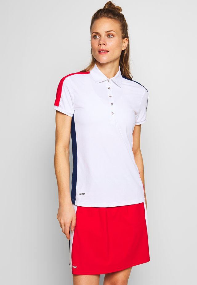 ZONE - Polo shirt - white/prussian blue/bright red