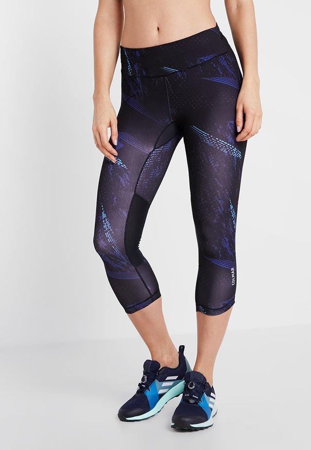 BREEZY - 3/4 sports trousers - black/light blue/plum
