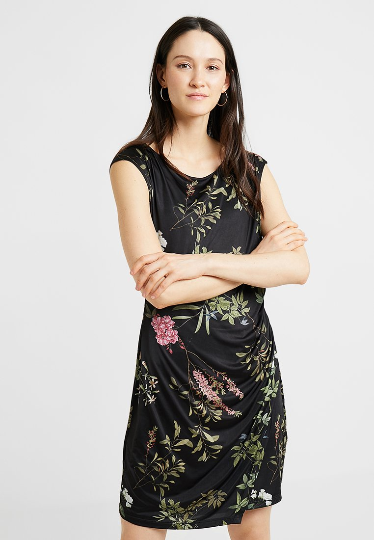 Cartoon - SHORT FLORAL DRESS - Jerseykjoler - black/darkred