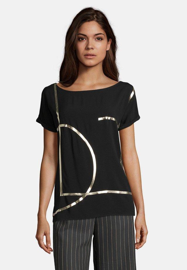 Print T-shirt - schwarz/gold
