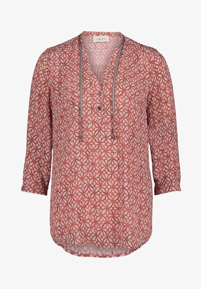 MIT MUSTER - Bluse - taupe/rot