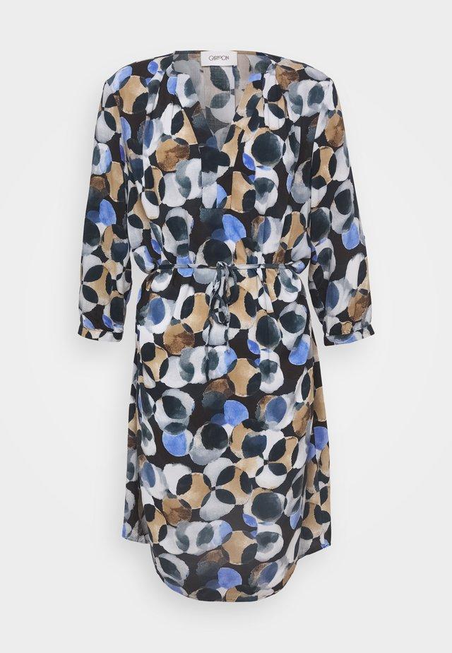 Blusenkleid - dark blue/taupe