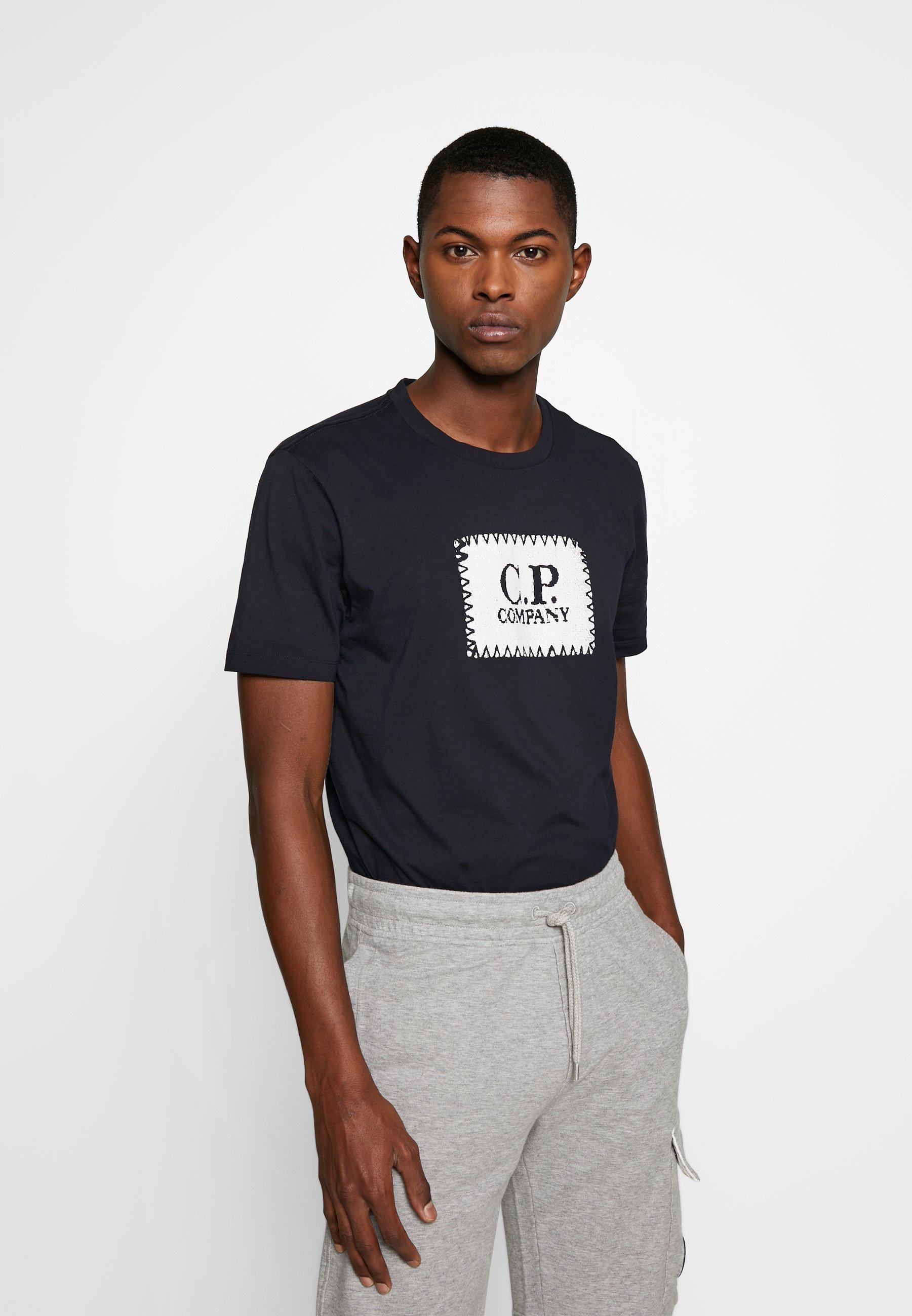 C.P. Company LOGO - T-shirt z nadrukiem - navy