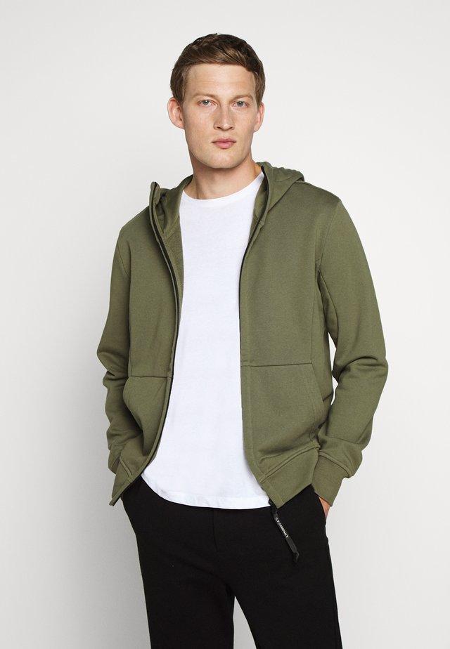 HOODED OPEN DIAGONAL - Zip-up hoodie - olive