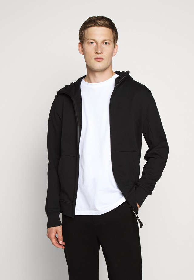 HOODED OPEN DIAGONAL - Felpa aperta - black