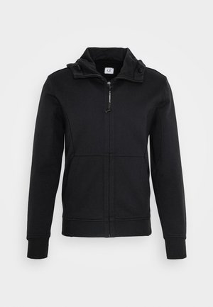 HOODED OPEN DIAGONAL - Mikina na zip - black