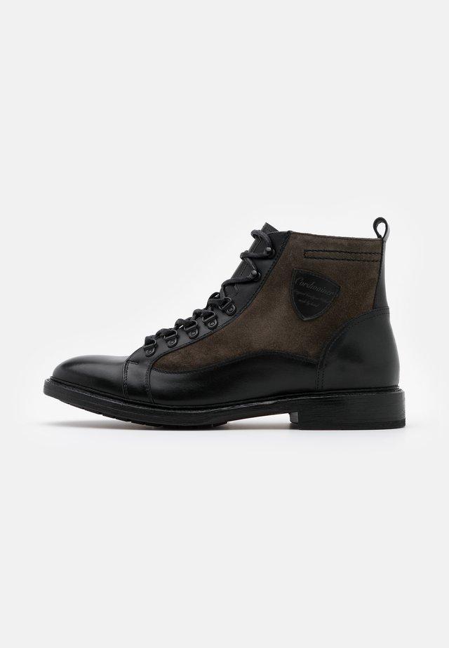 Lace-up ankle boots - orleans black/venezia piombo