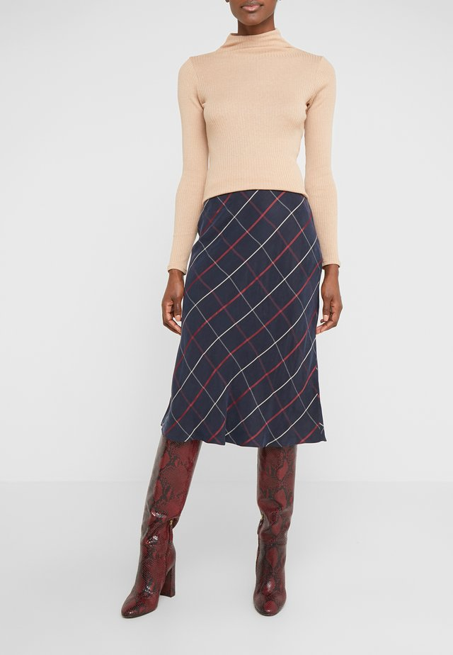 PLAID BIAS SKIRT - Jupe trapèze - navy