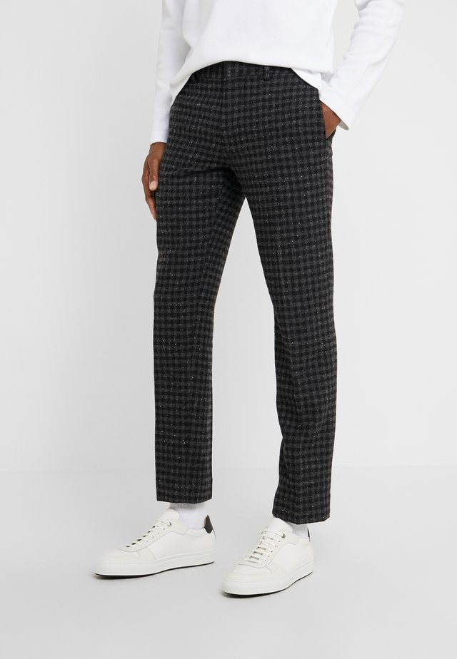 SUTTON GINGHAM - Pantalon classique - black/charcoal