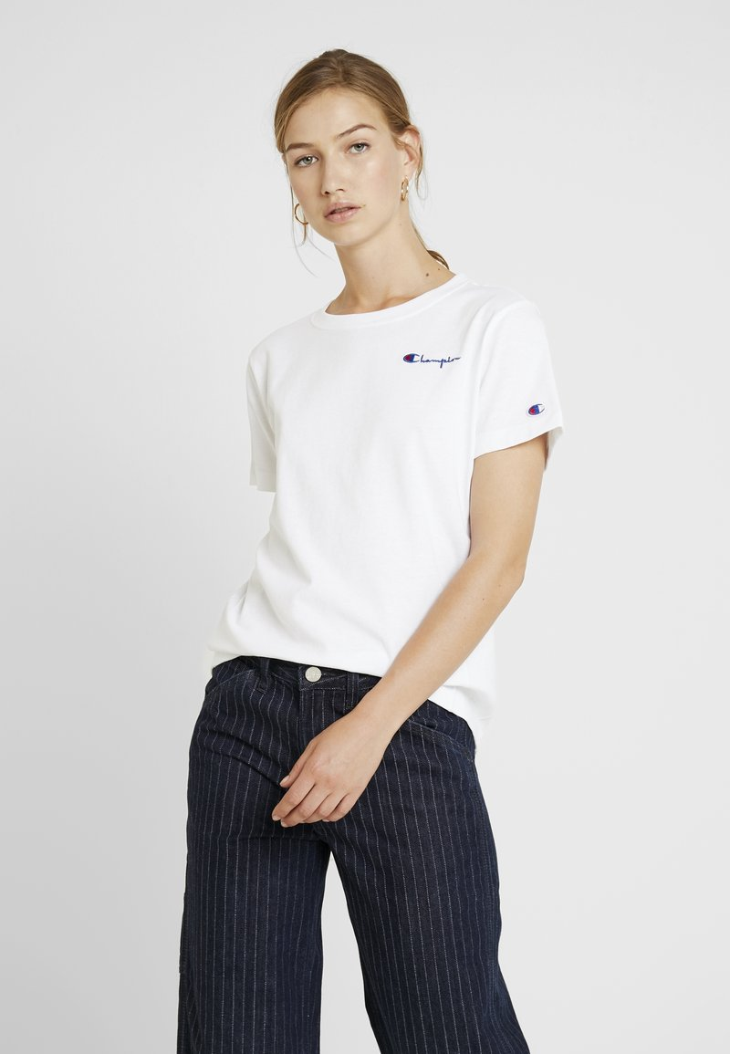 Champion Reverse Weave - SMAL SCRIPT CREWNECK  - T-shirts med print - white