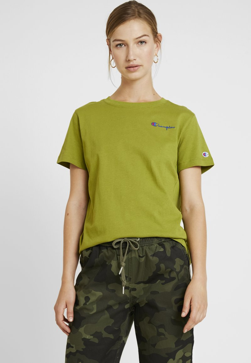 Champion Reverse Weave - SMAL SCRIPT CREWNECK  - T-Shirt print - khaki