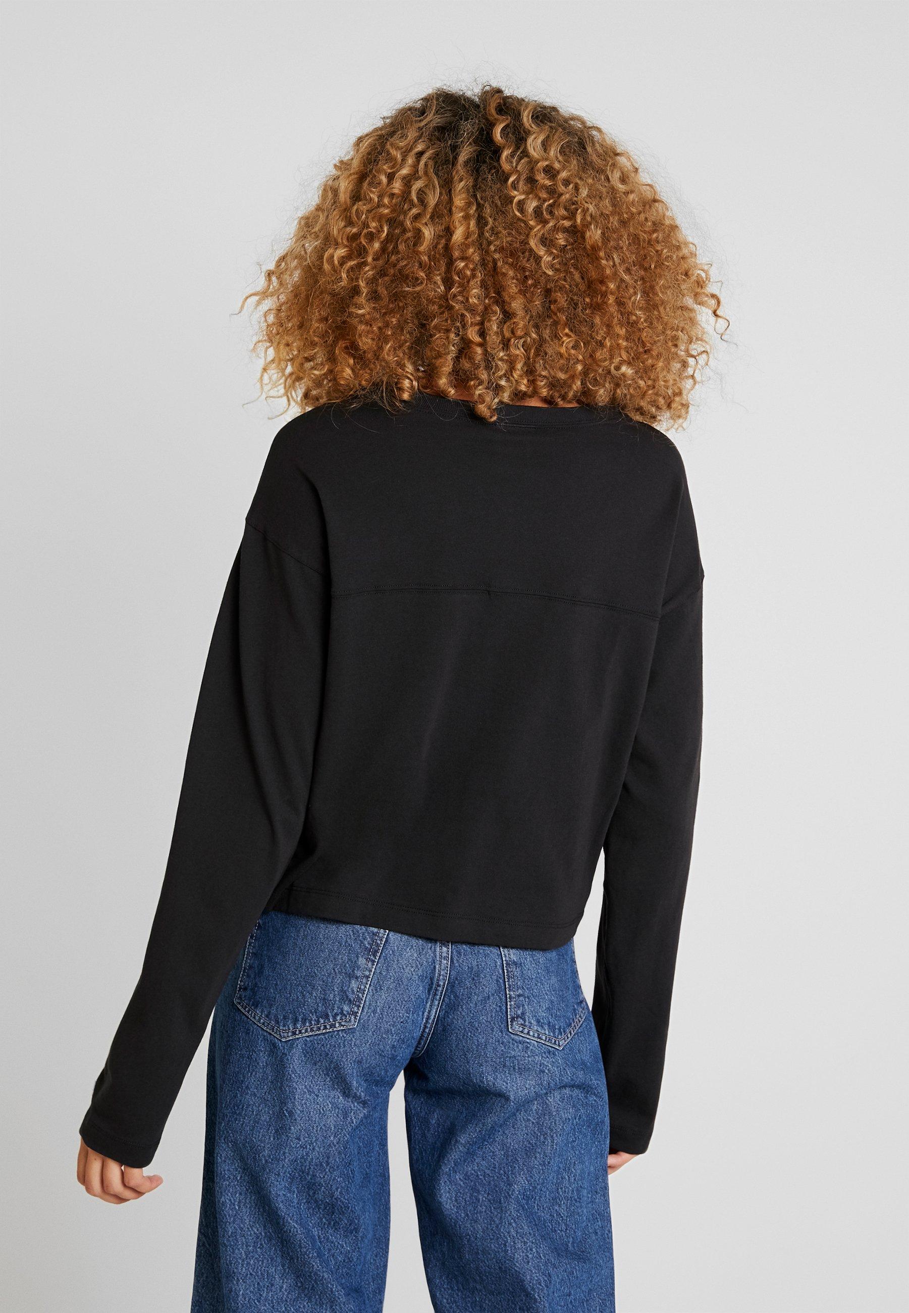 À Big Reverse Black Manches Weave Champion shirt Longues Script CroppedT GzUVpSMq