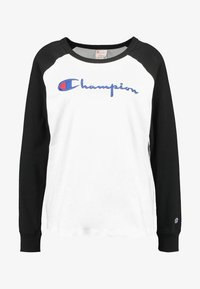 Champion Reverse Weave - BIG SCRIPT COLOR BLOCK CREW NECK - Long sleeved top - black/white - 3