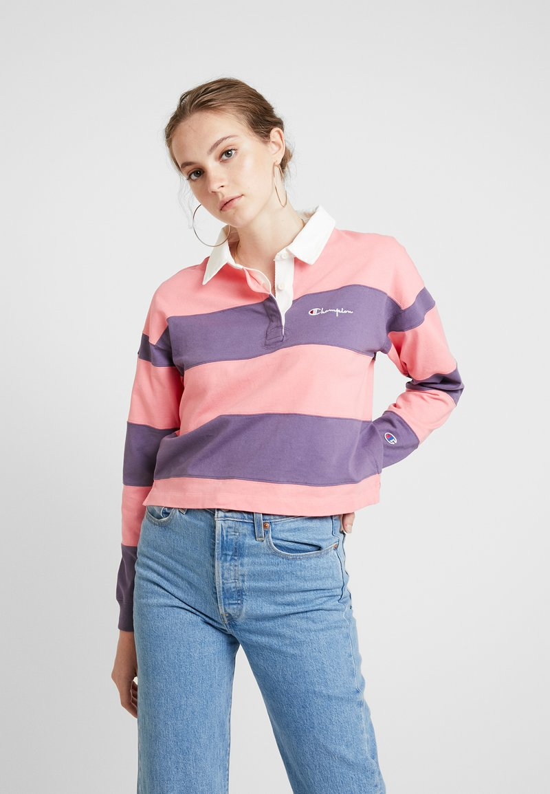 Champion Reverse Weave - SMALL SCRIPT STRIPED POLO SHIRT - Polo shirt - light pink
