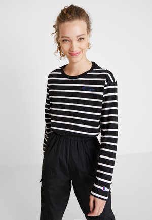 STRIPED CREWNECK - Long sleeved top - black