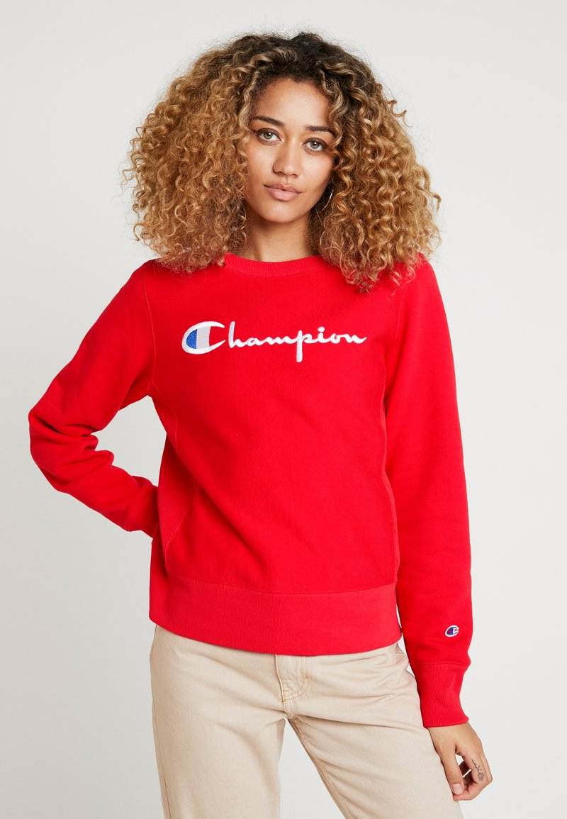 Champion Reverse Weave - BIG SCRIPT CREWNECK - Sweatshirt - red