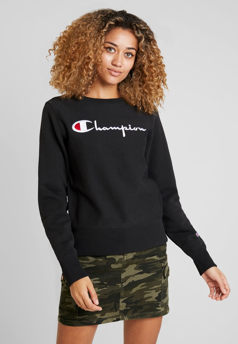 Champion Reverse Weave - BIG SCRIPT CREWNECK - Sweatshirt - black