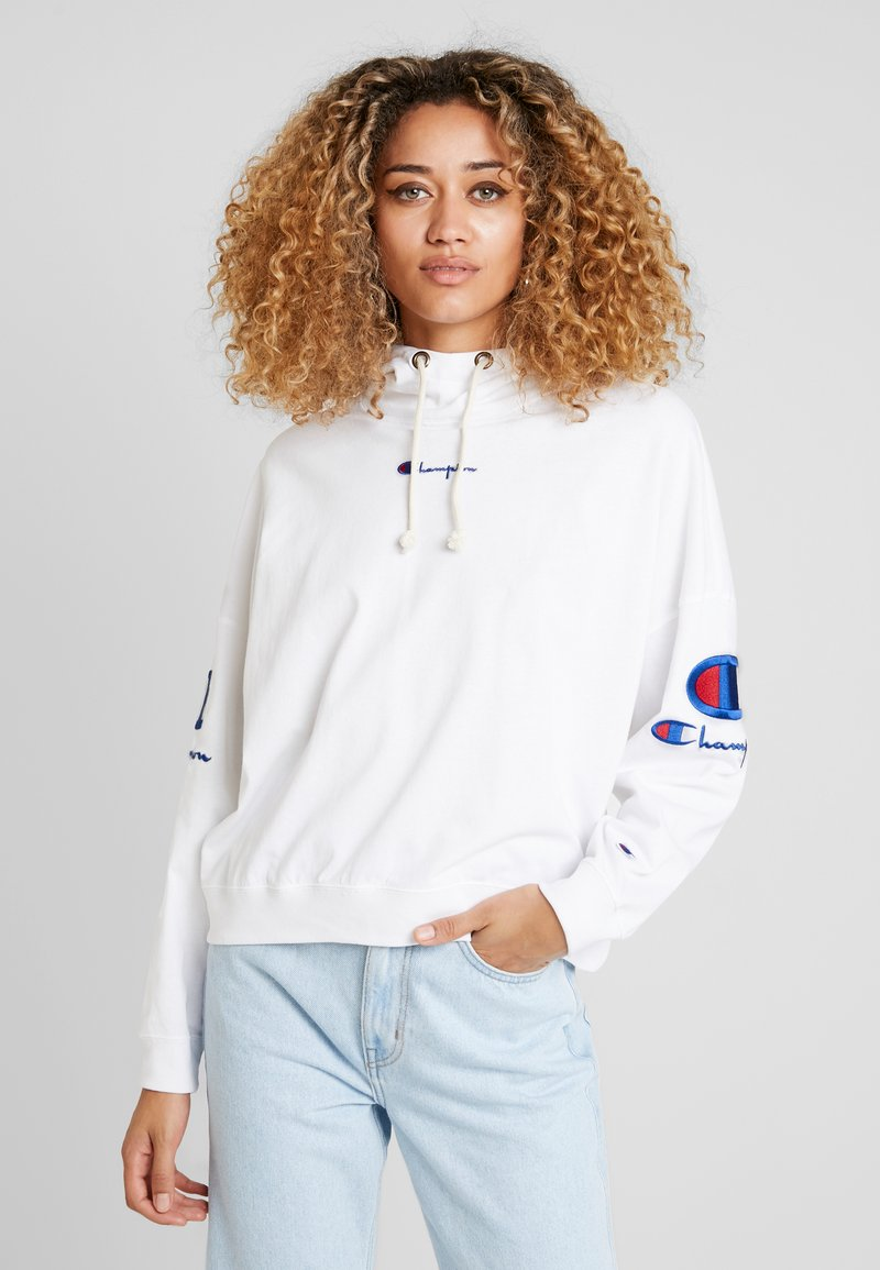 Champion Reverse Weave - SLEEVE LOGO HOODED - T-shirt à manches longues - white