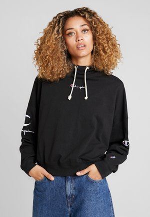 SLEEVE LOGO HOODED - Long sleeved top - black