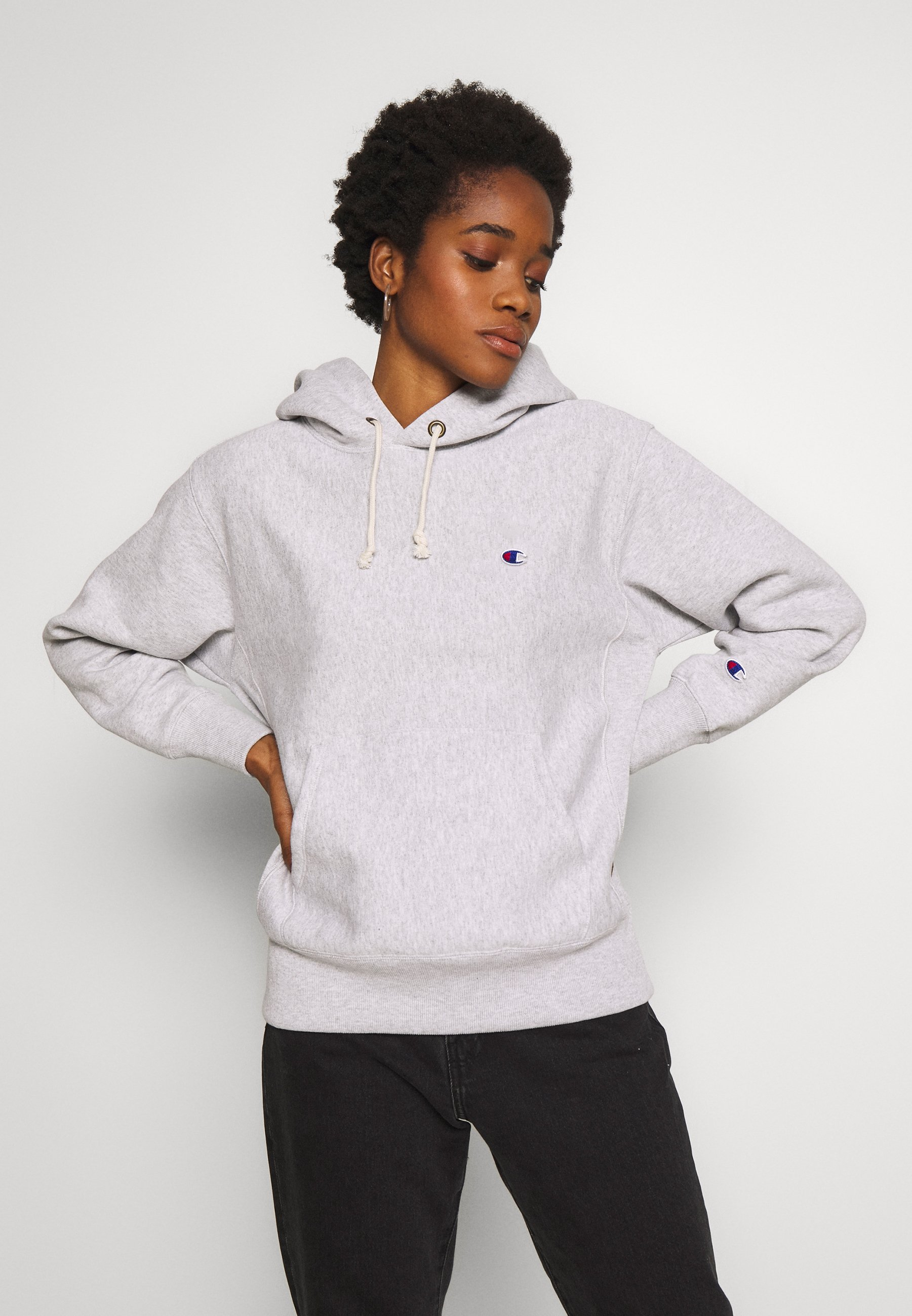 Champion Reverse Weave HOODED - Bluza z kapturem - grey