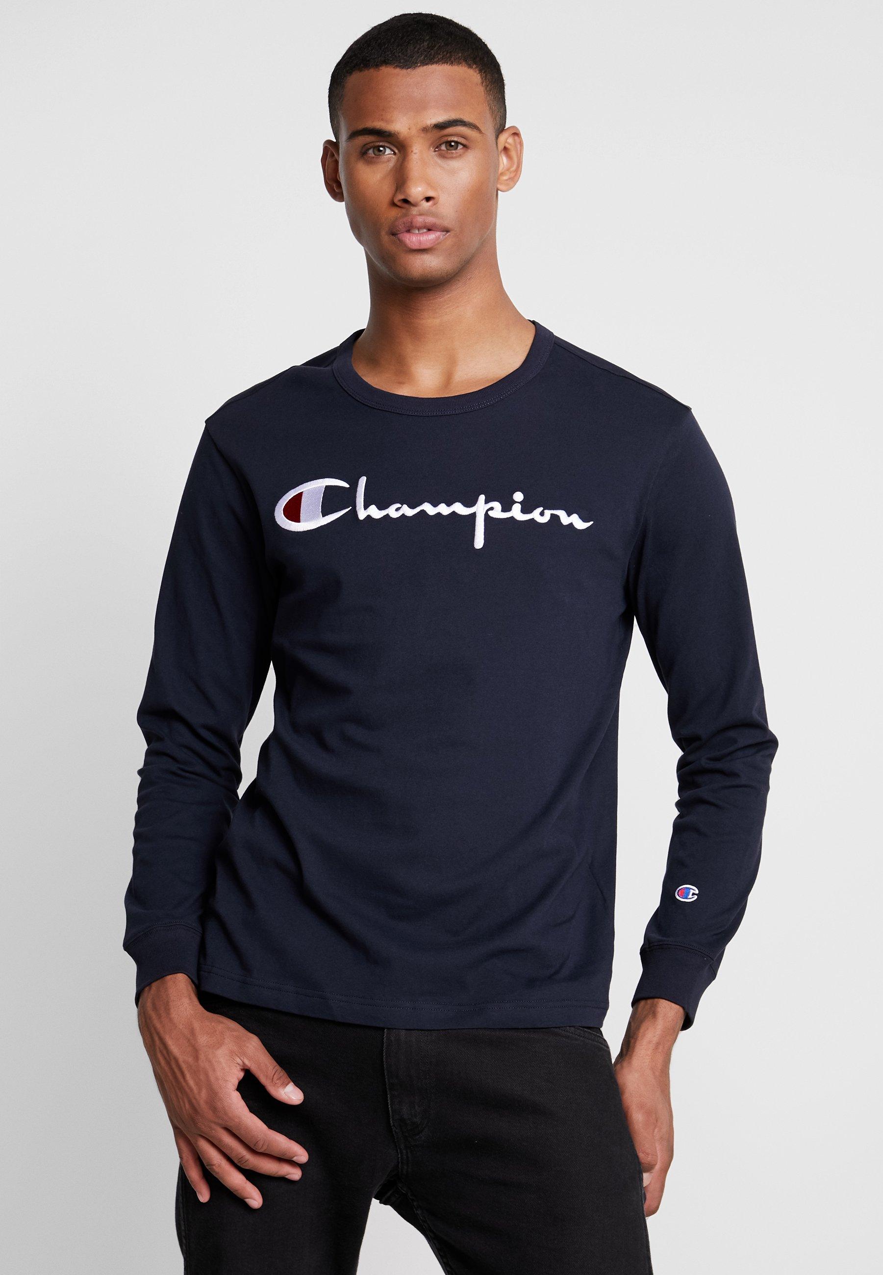 Weave shirt Longues Crewneck Champion À Logo Long Reverse Big SleeveT Manches Navy 35ALq4Rj