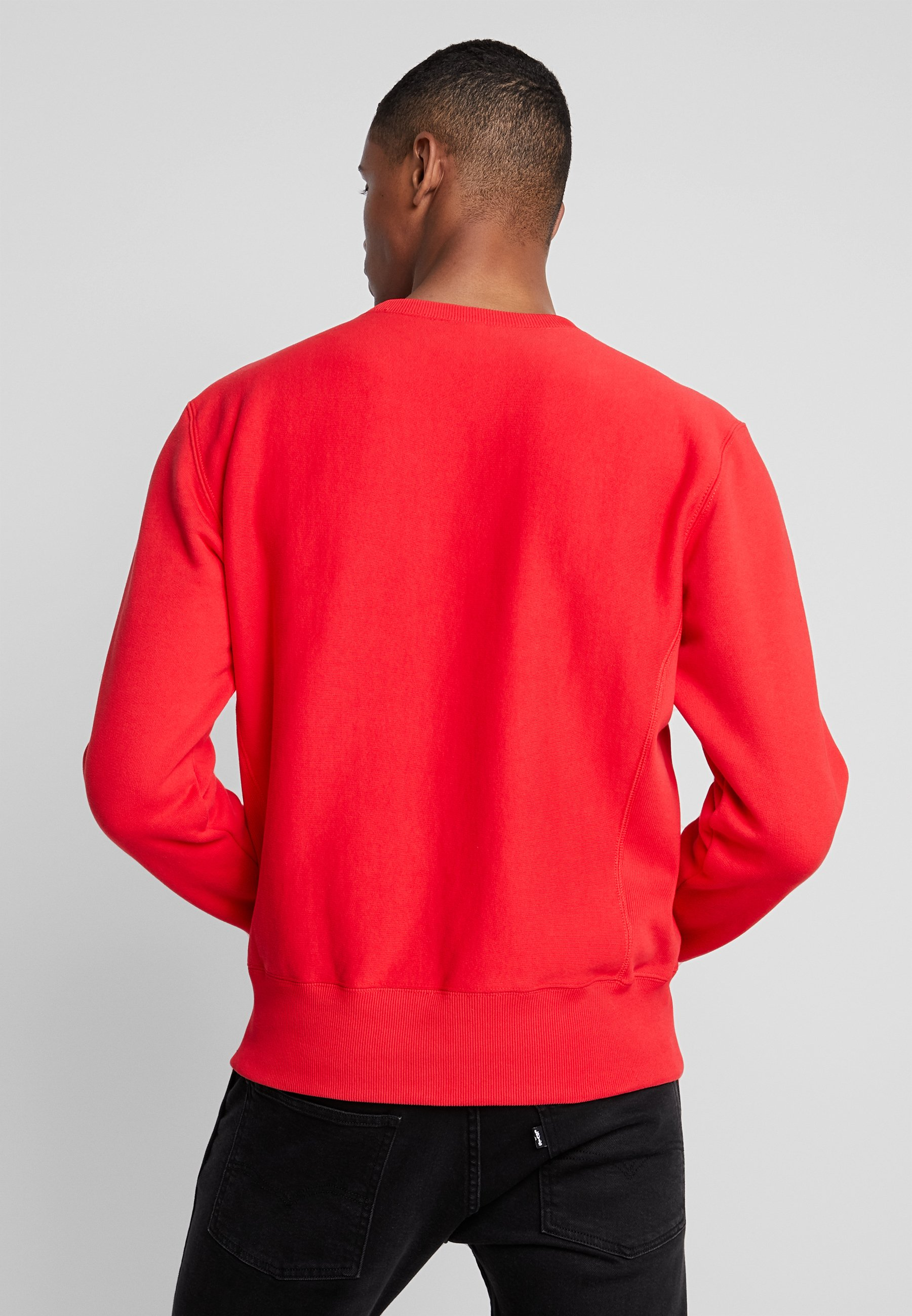 Script Small Weave Reverse Red CrewneckSweatshirt Champion PXOZTkiu