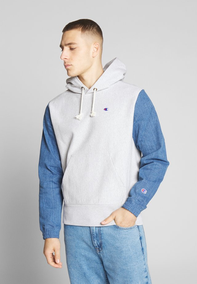 JEANS HOODED - Jersey con capucha - mottled light grey
