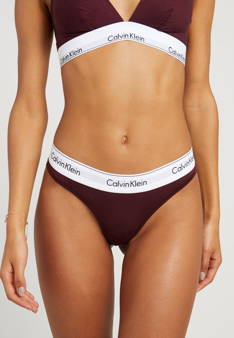 Calvin Klein Underwear - MODERN THONG - Thong - deep maroon/white