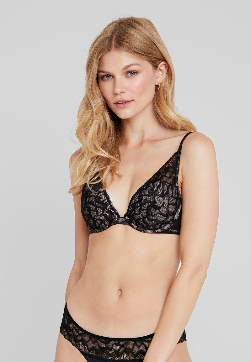 Calvin Klein Underwear - ETCHED LIGHTLY LINED PLUNGE - Bügel BH - black