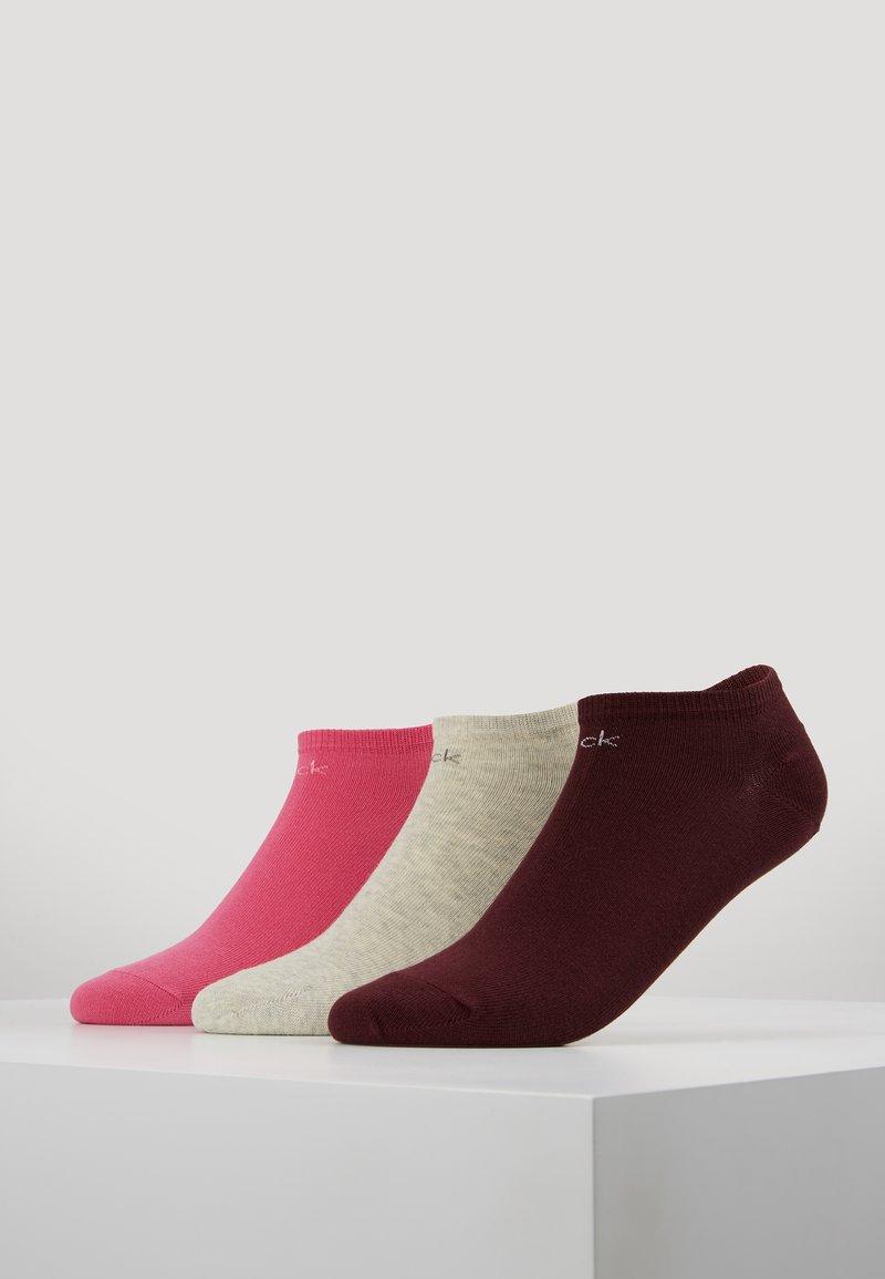 Calvin Klein Underwear - LOGO SNEAKER 3 PACK - Strømper - port royale/bright pink/pale grey heather
