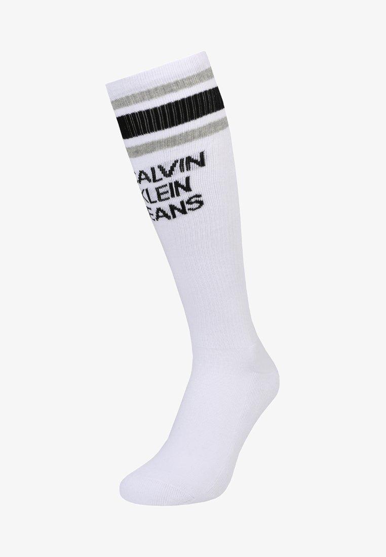 Calvin Klein Underwear - STRIPE LOGO KNEE HIGH - Knee high socks - white