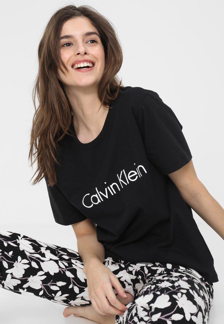 Calvin Klein Underwear - CREW NECK - Pyjama top - black/white