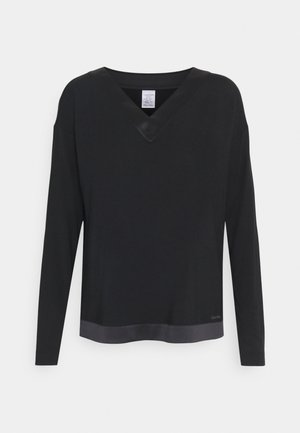 V NECK - Pyjama top - black