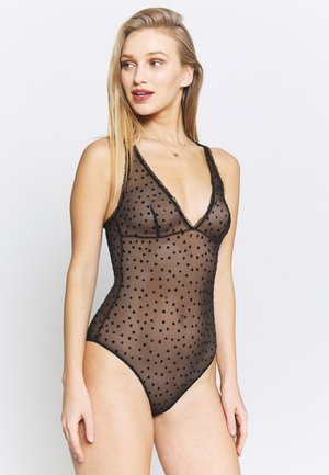 FLOCKED HEARTS BODYSUIT - Body - black
